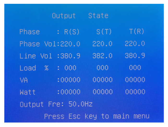 Output State LCD ИБП P-Com Multi-Pro F4033
